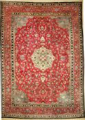 Seltener Semnan antik (Sig.), Persien, um 1900, Wolle auf Baumwolle, ca. 490 x 345 cm, dekorativ,