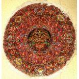 Täbriz fein (Rund), Persien, um 1970, Korkwolle mit Seide, ca. 250 cm, selten, EHZ: 4-5 (alter
