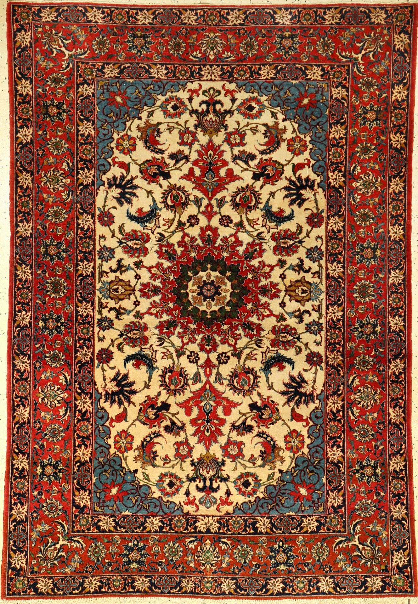 Feiner Esfahan alt, Persien, um 1930, Korkwolle, ca. 214 x 148 cm, feiner Qualität, Dekorativ,