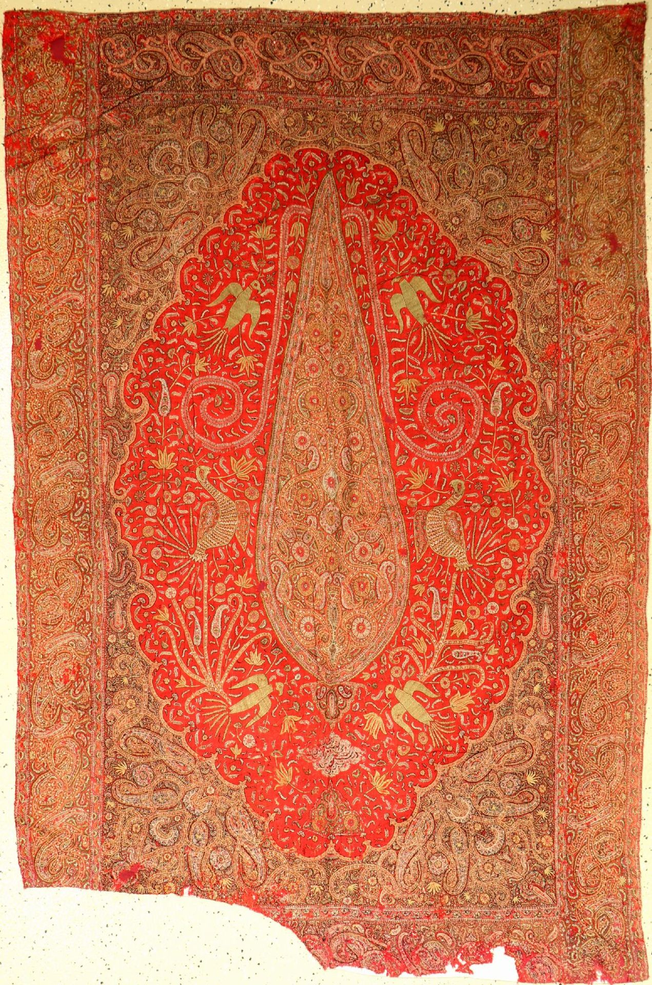 Kerman Stickerei (Fragment), Persien, um 1900, Wolle, ca. 191 x 125 cmKerman embroidery (