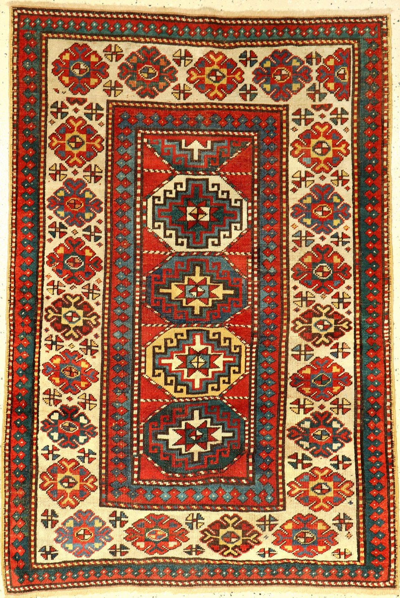 Kasak antik, Kaukasus, 19.Jhd., Wolle auf Wolle, ca. 168 x 116 cm, selten, Memling-Guls,(Alters
