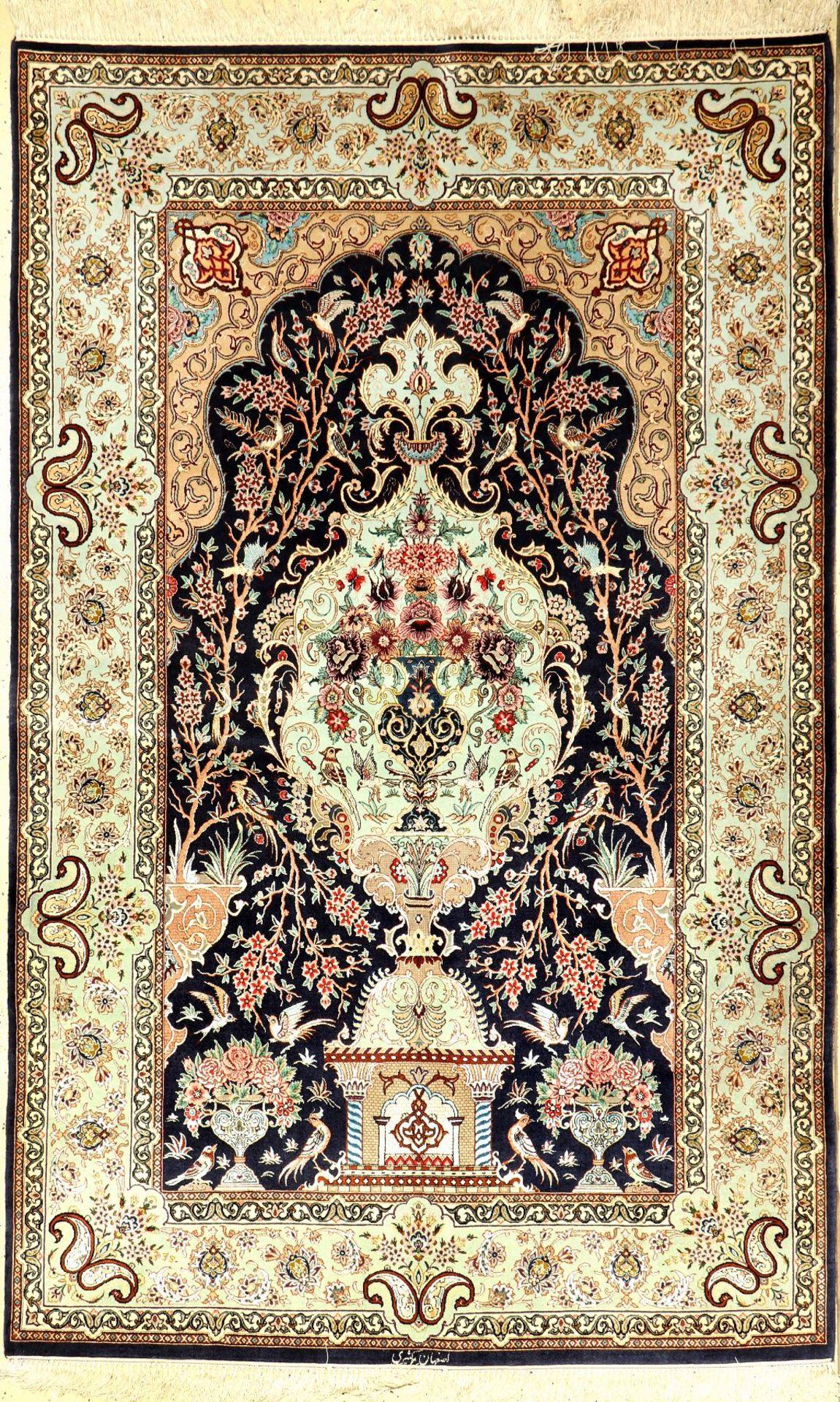 """Feiner Esfahan """"Kasiri"""" (Signiert), Persien, ca. 40 Jahre alt, Korkwolle mit und auf Seide, ca."""