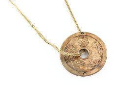 """Anhänger """"Tael"""" an Goldkette, GG 585/000, Fuchsschwanzkette urspr. als Uhrenkette konzipiert, L. ca."""