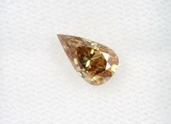 Loser Diamant, 1.01 ct Natural fancy deep brown-yellow, tropfenf. facett., 8.57 x 5.02 x 3.9 mm, mit