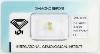 Loser Diamant, 0.52 ct Natural fancy intense yellow/p1, tropfenf. facett., 6.56 x 4.48 x 2.83 mm,