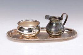 Zuckerschale und Milchkännchen auf Tablett, Wilkens Bremen, um 1910, 835er Silber, Ränder im