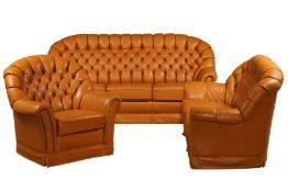 3-teilige Sitzgarnitur, nach engl. Vorbild, bestehend aus 2-Sitzer Sofa, 3-Sitzer Sofa u. Sessel,