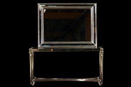 Konsole mit Spiegel, 2-teilig, Metall, teilvergoldet, konisch zulaufende Beine über 2 gebogene