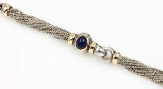 Designer Armband mit Lapislazuli, 925er Silber und GG 750/000, mittig ovaler Lapiscabochon, z.T.