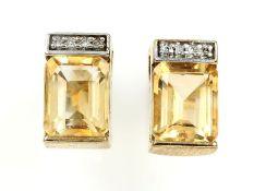 9 kt gold Ohrstecker mit Citrinen und Diamanten, GG/WG 375/000, facett. Citrine zus. ca. 4.00 ct, in