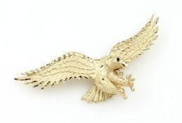 "14 kt Gold Anhänger ""Adler"", GG 585/000 gepr., Oberfläche fein grav. und struktur., ca. 8 cm, ca. 13"