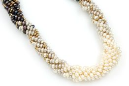 6-rhg. Collier mit Süßwasserzuchtperlen, Juwelier Nitsch, Mannheim # , Schließe 14 kt Gold, GG 585/