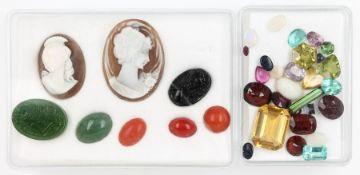 Lot lose Farbsteine, best. aus: 2 Turmaline zus. ca. 1.68 ct, 1 Rubellit ca. 0.79 ct, 3
