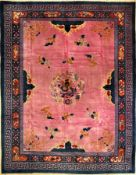 """Seltener großer Peking """"Drachenteppich"""" antik, Nordostchina, um 1900, Korkwolle geknüpft auf"""