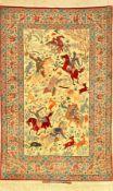 "Sehr feiner Esfahan ""Seirafian"" alt (The Hunting) ""Signiert"", Zentralpersien, um 1950, Korkwolle"