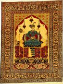 """Feiner Täbriz """"Bildteppich"""" alt (Shah Abbas I.), Nordwestpersien, um 1930, Korkwolle geknüpft auf"""