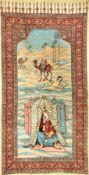 """Esfahan """"Qalamkar"""" antik (Leyli & Majnun), Zentralpersien, um 1900, Baumwolltuch teils aufgedruckt"""
