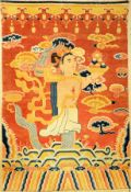 """Einzigartiger Ning-Hsia """"Tempelteppich"""" antik (Buddhistische Gottheit) """"Aus der ehemaligen"""