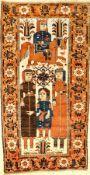"""Ferdows Belutsch """"Bildteppich"""" antik (Khosrow & Shirin), Nordostpersien, 19.Jhd., Wolle geknüpft auf"""