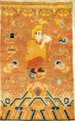 """Seltener Ning-Hsia """"Tempelteppich"""" antik (Lama Aufruf zum Gebet), Westchina, 1.Hälfte 19.Jhd., Wolle"""