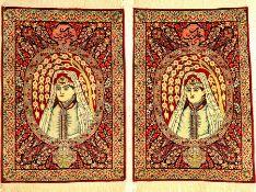 """1 Paar feine Kerman-Ravar """"Bildteppiche"""" antik (Purandokht, Tochter des persischen Königs Chosrau"""