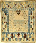 Seltener früher Rya antik (Publiziert bei Bausback), Schweden, Datiert um 1797, Wolle geknüpft auf