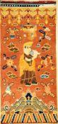 """Ning-Hsia """"Tempelteppich"""" antik (Lama Aufruf zum Gebet), Westchina, Mitte 19.Jhd., Wolle geknüpft"""