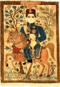 """Feiner Keschan """"Mohtascham"""" Bildteppich antik (Ahmad Schah Qajar), Zentralpersien, um 1910,"""