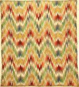 """Seltenes Bargello """"Textil"""" Stickerei antik (Flammen Muster), Italien, 19.Jhd., Wolle mit Baumwolle"""