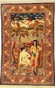"""Einzigartiger feiner Keschan """"Dabir Sanayeh"""" Bildteppich alt (Adam & Eva), Zentralpersien, um"""
