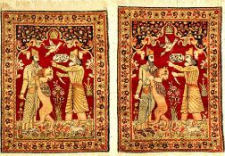"""1 Paar feine Kerman-Ravar """"Bildteppiche"""" antik (Rostam kämpft gegen den weißen Diew & König"""