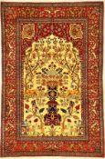 """Feiner Esfahan """"Ahmad"""" antik, Zentralpersien, Ende 19.Jhd., Korkwolle geknüpft auf Baumwolle. Feiner"""