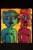 Peter Robert Keil, 1984, ohne Titel, ca. 110x100 cm, signiert u. datiert, Öl/Acryl Mischtechnik
