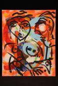Peter Robert Keil, ohne Titel, ca. 100x80 cm, signiert, Öl/Acryl Mischtechnik auf Faserplatte,