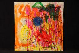 Peter Robert Keil, ohne Titel, ca. 100x100 cm, signiert, Öl/Acryl Mischtechnik auf Holzplatte,
