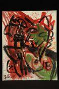 Peter Robert Keil, 1995, ohne Titel, ca. 120x95 cm, signiert u. datiert, Öl/Acryl Mischtechnik auf