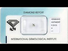Brillant 0.33 ct Weiß (H)/p1, eingeschweißt, IGI-Report
