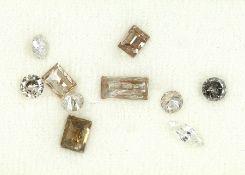 Lot 10 lose Diamanten, zus. ca. 3.32 ct Weiß-Braun/p, in