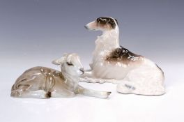 Zwei Porzellanfiguren, 1x Schäfchen, Rosenthal, Entwurf