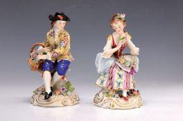 Porzellanfigurenpaar, Scheibe Alsbach, um 1900, Gärtner