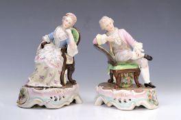 Porzellanfigurenpaar, deutsch, um 1890, galantes Paar auf