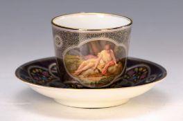 Tasse mit Untertasse, Meissen, um 1890, kobaltblauer