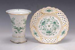 Vase und Dessertteller, Meissen, 60er Jahre, Porzellan,