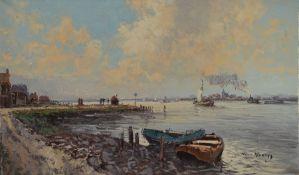 Wim van Norden, 1917-2001, Fischerboote am Ufer, im