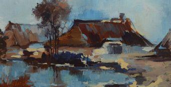 W. Kunst, wohl norddeutscher Maler, Häuser am See, li.