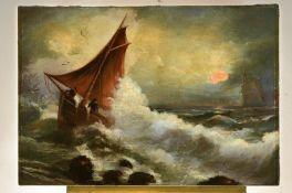 Unbekannter Künstler, Mitte 19. Jh., Boot auf stürmischer