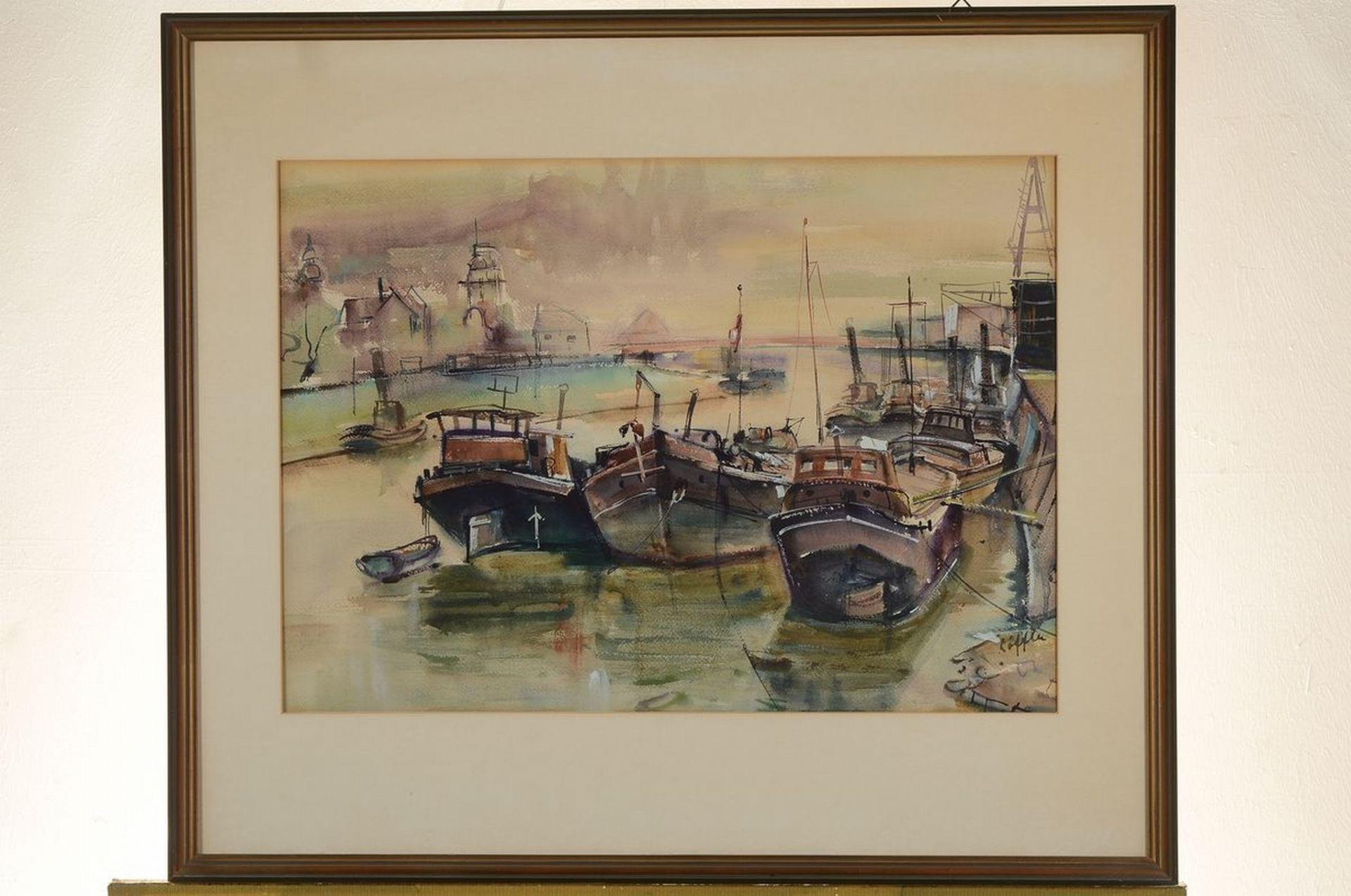 Paul Löffler, 1938-1995 Mannheim, Hafenansicht, Aquarell - Bild 3 aus 3