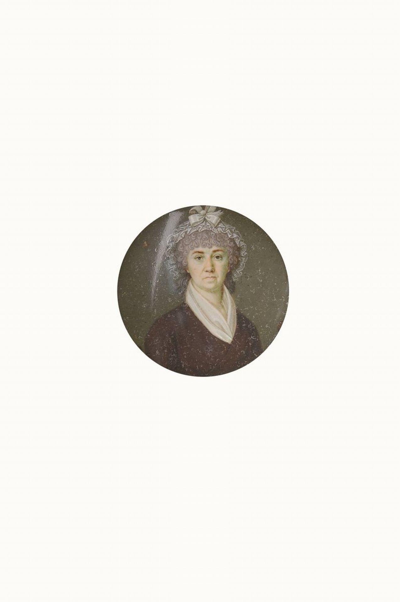 Miniaturmalerei, deutsch, um 1860, Porträt einer Frau mit