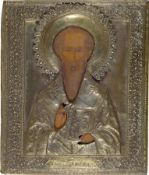 Ikone, Russland, um 1890, Hl. Nikolaus, Tempera auf Holz,