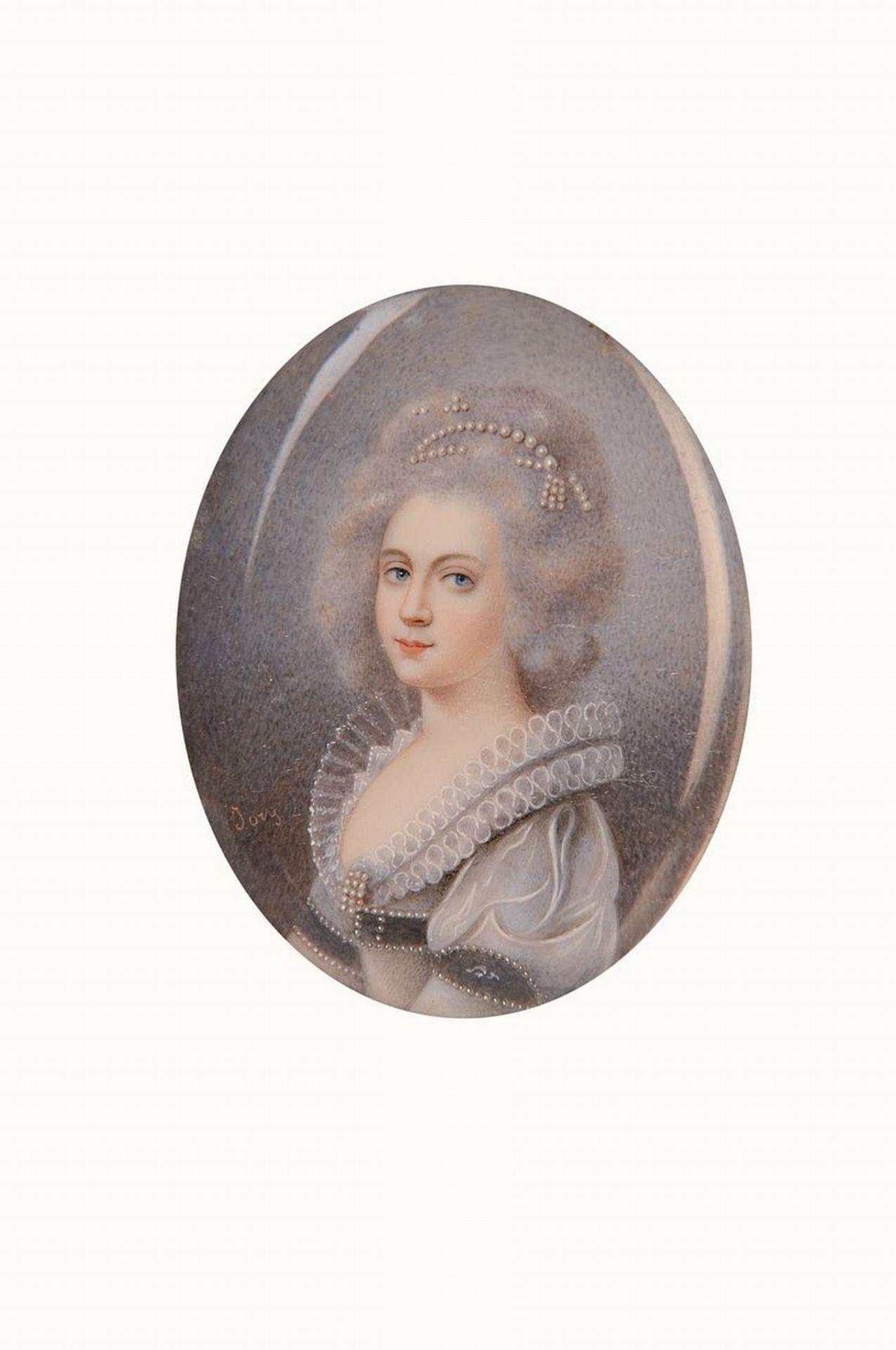 Miniaturmalerei, England, um 1870, Porträt einer Frau mit